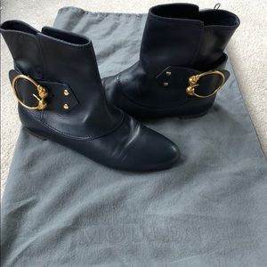 Alexander McQueen Skull Ring Buckle Ankle Boots